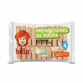 PRENDEDOR DE ROUPAS MADEIRA 12UND - BILLA